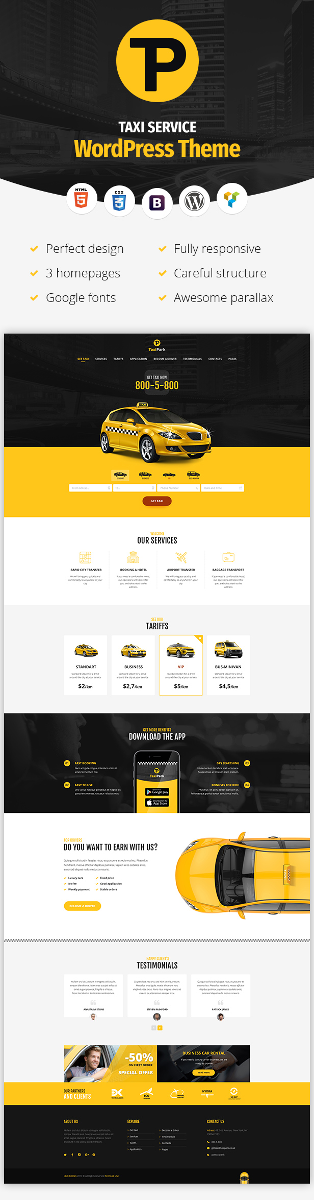 TaxiPark – Taxi Service Company WordPress Theme (Corporate)